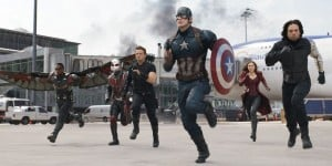 Team Cap consisting of (left or right) Falcon, Ant Man Hawkeye, Captain America, Scarlett Witch and The Winter Soldier, get ready to fight.