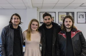 Fenella with You Me At Six band members (left to right) Chris, Matt and Max. (Image from Robert Male Photography