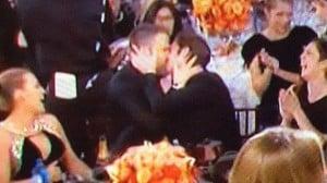 Ryan Reynolds and Andrew Garfield shared a joke kiss during Ryan Gosling's Golden Globe acceptance